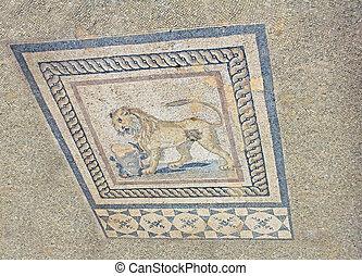 Ruinas arqueológicas dentro de una casa residencial en Éphesus, pavo