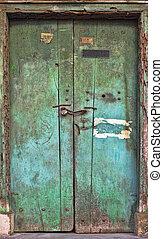 ruinoso, de madera, door., viejo