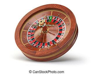 Ruleta de casino aislada en fondo blanco.