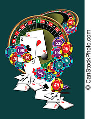 ruleta, elementos, casino, tabla