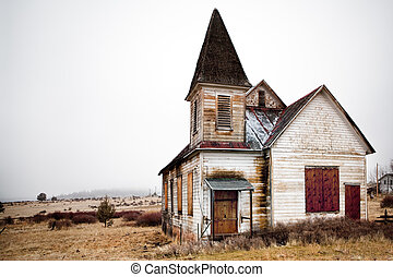 rural, abandonado, iglesia