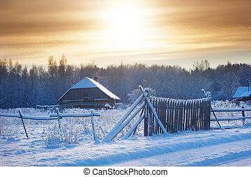 rural, cerca, casa, invierno