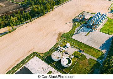 rural, grano, semilla, biogas, comercial, granero, terminal, elevadores, bio-gas, silos, planta, secador, grain-drying, interior, paisaje., soleado, o, complejo, primavera, maíz, silos, granja del cerdo