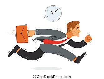 rush., hombre de negocios, empleado, apuro, divertido, corra, tarde, lindo, trabajador, contador, ilustración, cómico, o, caricatura, hombre, vector, empresa / negocio