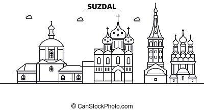 Rusia, arquitectura de Suzdal, ilustración en línea aérea. Vector lineal Cityscape con puntos de referencia famosos, vistas de la ciudad, iconos de diseño. Landscape wtih derrames editables