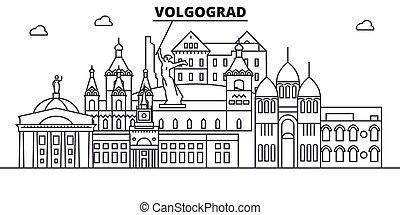 Rusia, arquitectura de Volgograd ilustración en línea aérea. Vector lineal Cityscape con puntos de referencia famosos, vistas de la ciudad, iconos de diseño. Landscape wtih derrames editables