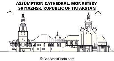 Rusia, el tatarstán, la catedral de la suposición. Monasterio, Sviyazhsk viajan por el famoso horizonte histórico, panorama, vector. Rusia, el tatarstán, la catedral de la suposición. Monasterio, ilustración lineal esviyazhsk