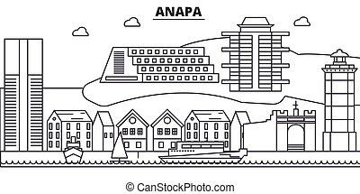 Rusia, línea de arquitectura de Anapa ilustración en línea aérea. Vector lineal Cityscape con puntos de referencia famosos, vistas de la ciudad, iconos de diseño. Landscape wtih derrames editables