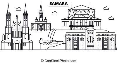 Rusia, línea de arquitectura de Samara ilustración en el horizonte. Vector lineal Cityscape con puntos de referencia famosos, vistas de la ciudad, iconos de diseño. Landscape wtih derrames editables