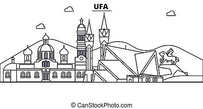 Rusia, línea de arquitectura de Ufa ilustración en el horizonte. Vector lineal Cityscape con puntos de referencia famosos, vistas de la ciudad, iconos de diseño. Landscape wtih derrames editables