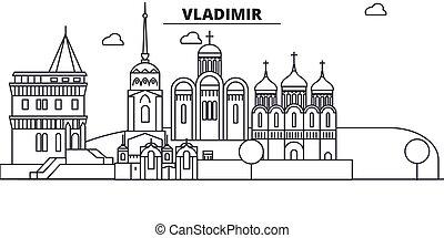 Rusia, línea de arquitectura de Vladimir ilustración en el horizonte. Vector lineal Cityscape con puntos de referencia famosos, vistas de la ciudad, iconos de diseño. Landscape wtih derrames editables