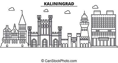 Rusia, la línea de arquitectura de Kaliningrado ilumina el horizonte. Vector lineal Cityscape con puntos de referencia famosos, vistas de la ciudad, iconos de diseño. Landscape wtih derrames editables