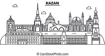 Rusia, la línea de arquitectura de Kazan ilustración en el horizonte. Vector lineal Cityscape con puntos de referencia famosos, vistas de la ciudad, iconos de diseño. Landscape wtih derrames editables