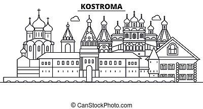 Rusia, la línea de arquitectura de Kostroma ilustración en el horizonte. Vector lineal Cityscape con puntos de referencia famosos, vistas de la ciudad, iconos de diseño. Landscape wtih derrames editables