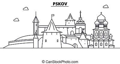Rusia, la línea de arquitectura de Pskov ilumina el horizonte. Vector lineal Cityscape con puntos de referencia famosos, vistas de la ciudad, iconos de diseño. Landscape wtih derrames editables