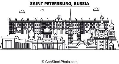 Rusia, la línea de arquitectura de San Petersburgo ilustración en el horizonte. Vector lineal Cityscape con puntos de referencia famosos, vistas de la ciudad, iconos de diseño. Landscape wtih derrames editables
