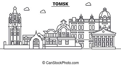 Rusia, la línea de arquitectura de Tomsk ilumina el horizonte. Vector lineal Cityscape con puntos de referencia famosos, vistas de la ciudad, iconos de diseño. Landscape wtih derrames editables