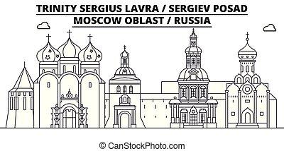 Rusia - Sergiev Posad, Lavra viajará por el famoso horizonte histórico, panorama, vector. Rusia, Sergeiv Poad, ilustración lineal de lavra