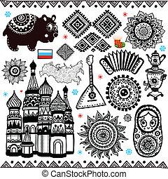 ruso, símbolos, conjunto, folcloric