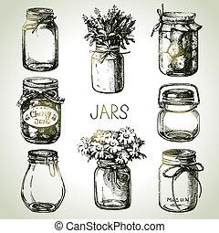 Rustic, masón y frascos de conservas dibujados a mano. Diseño Sketch
