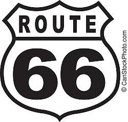 Ruta 66, signo de ruta retro-cosección