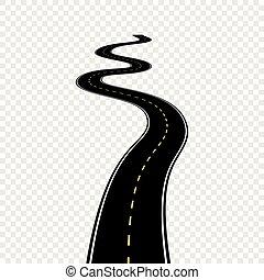 Ruta curvada con marcas blancas. Ilustración de vectores