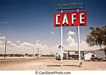 ruta, señal, histórico, 66, texas., por, café