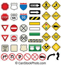 Ruta y señales de tráfico