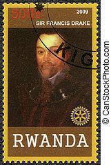 RWANDA - 2009: muestra retrato de Sir Francis Drake (1540-1596)