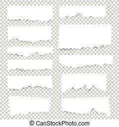 Sábanas de papel en blanco. Las notas de Vector se juntan con cinta adhesiva.