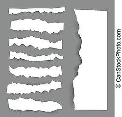 Sábanas de papel rotas. Las notas de Vector se juntan con cinta adhesiva.