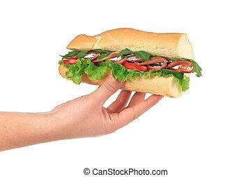 sándwich de baguette, francés, hands.