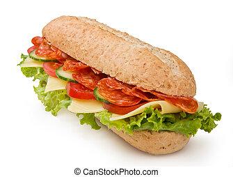 Sándwich de submarino Salami aislado en blanco