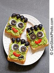 Sándwich verde de Halloween