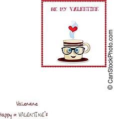 Sé mi tarjeta de San Valentín con taza de café de dibujos animados