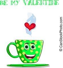 Sé mi tarjeta de San Valentín con taza de café verde de dibujos animados