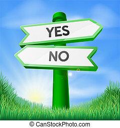 Sí o no concepto de signo