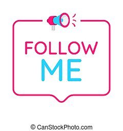 Sígueme placa, icono, logo. Concepto para las redes sociales.