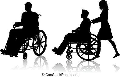 sílla de ruedas, mujer, hombre