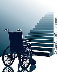 sílla de ruedas, vector, escaleras