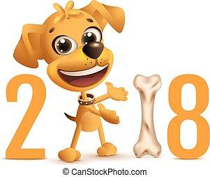 símbolo, año, amarillo, 2018, perro, calendario chino