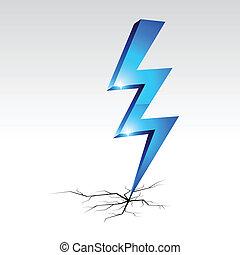 símbolo., advertencia, electricidad