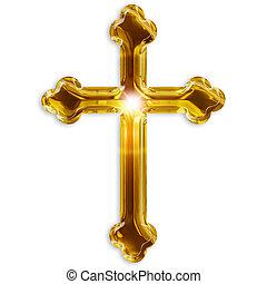 símbolo, aislado, crucifijo, plano de fondo, blanco, religioso