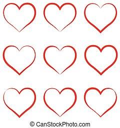símbolo, amor, vector, intimidad, caligrafía, empate, valentines, rojo, conjunto, amistad, corazón, corazón, mano, día, concepto, contorno