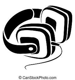 símbolo, auriculares