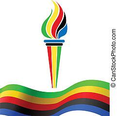 símbolo, bandera, antorcha, olímpico