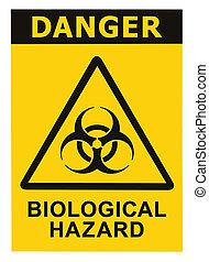 símbolo, biohazard, signo amarillo, negro, amenaza, biológico, alarma