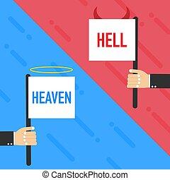 símbolo., blanco, vector, o, malo, fondo., infierno, ángel, illustration., bueno, diablo, heaven.