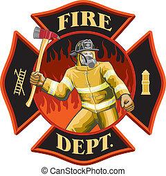 símbolo, bombero, dentro, cruz