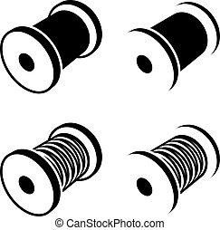 símbolo, carrete, negro, coser hilo